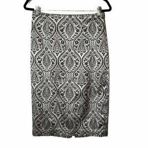 Worthington Black & Silver Floral Jacquard Skirt